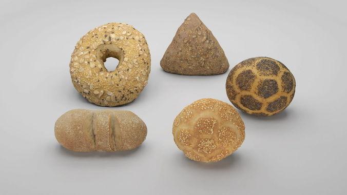 pack of 3d scanned bakery goods  3d model obj mtl 1