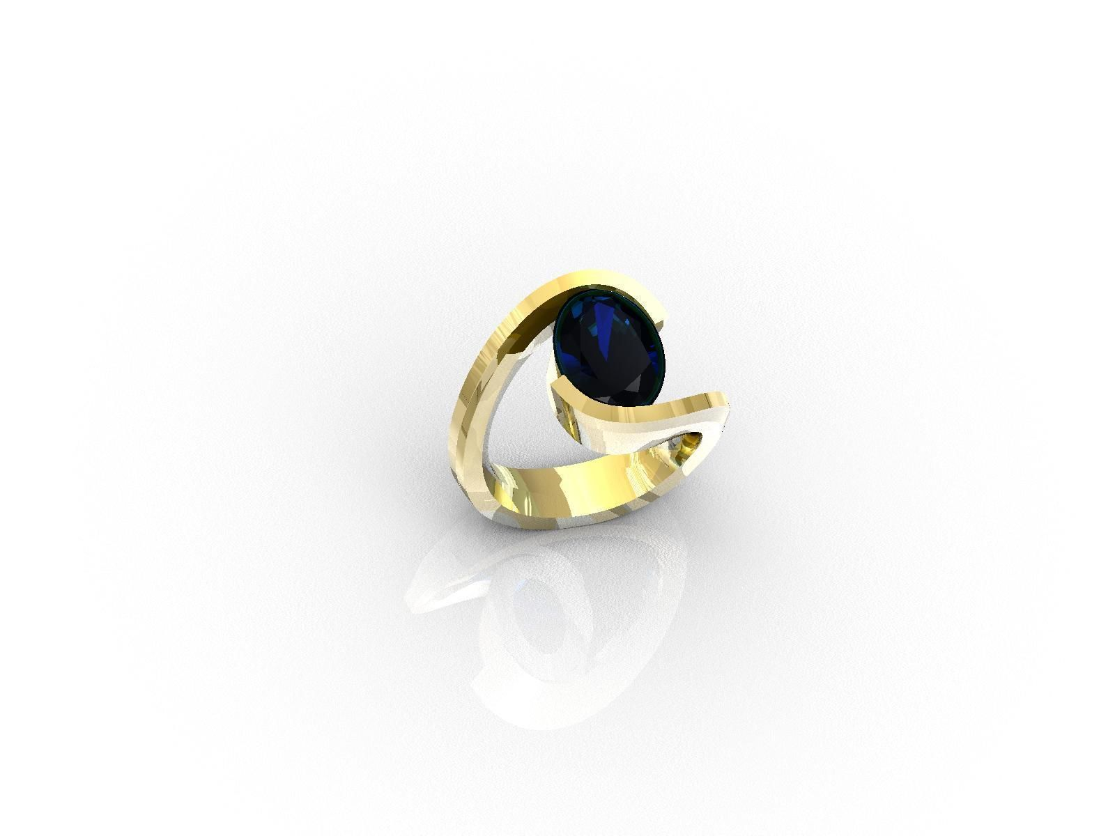 Ring with one big oval safir