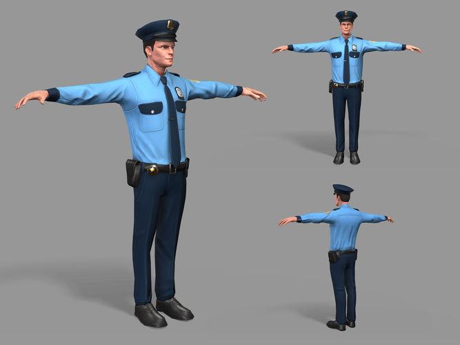 policeman  3d model max fbx 1