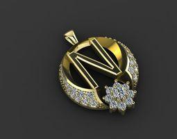 3D print model pendant gold diamond-ring