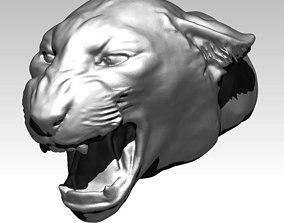 Angry cat tiger puma lion head bust 3D printable model