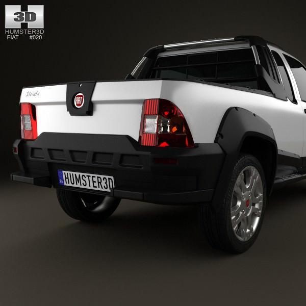 fiat strada crew cab adventure 2012 3d model max obj 3ds. Black Bedroom Furniture Sets. Home Design Ideas