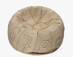 Recycled Canvas Number Bean Bag chair 3D
