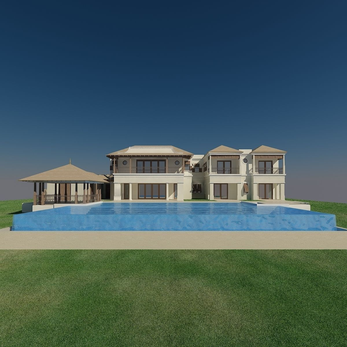 Luxury home bahama style 3d model max for Luxury household items