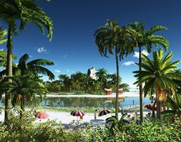 Tropical holiday in Vue 3D