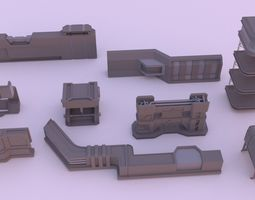 Handy sci fi chunks for kitbashing 3D model
