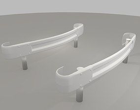 3D model Guardrail curved - japanese - high poly