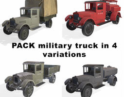 3D model realtime soviet truck in 4 variation