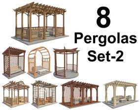 3D asset 8 Pergolas Set 2