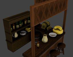 Medieval Tavern Balcony Interior 3D model