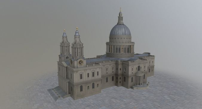 london st pauls cathedral 3d model low-poly max obj mtl 3ds fbx 1
