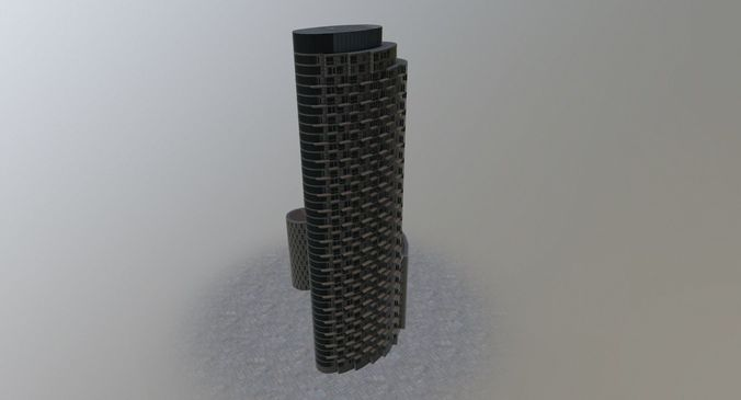london apartment tower 3d model low-poly max obj mtl 3ds fbx 1