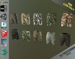 3D asset low-poly Camouflage Pants 1