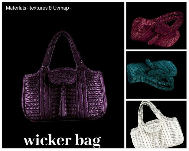 wicker bag 3d model obj mtl 3ds fbx blend dae 1