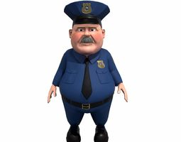 3D asset Cartoon policeman rigged animated low poly game 1