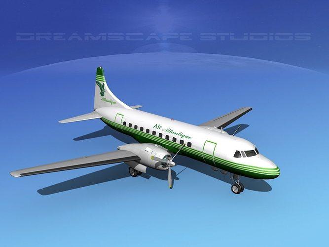 convair cv-340 air atlantique 3d model max obj mtl 3ds lwo lw lws dxf stl 1