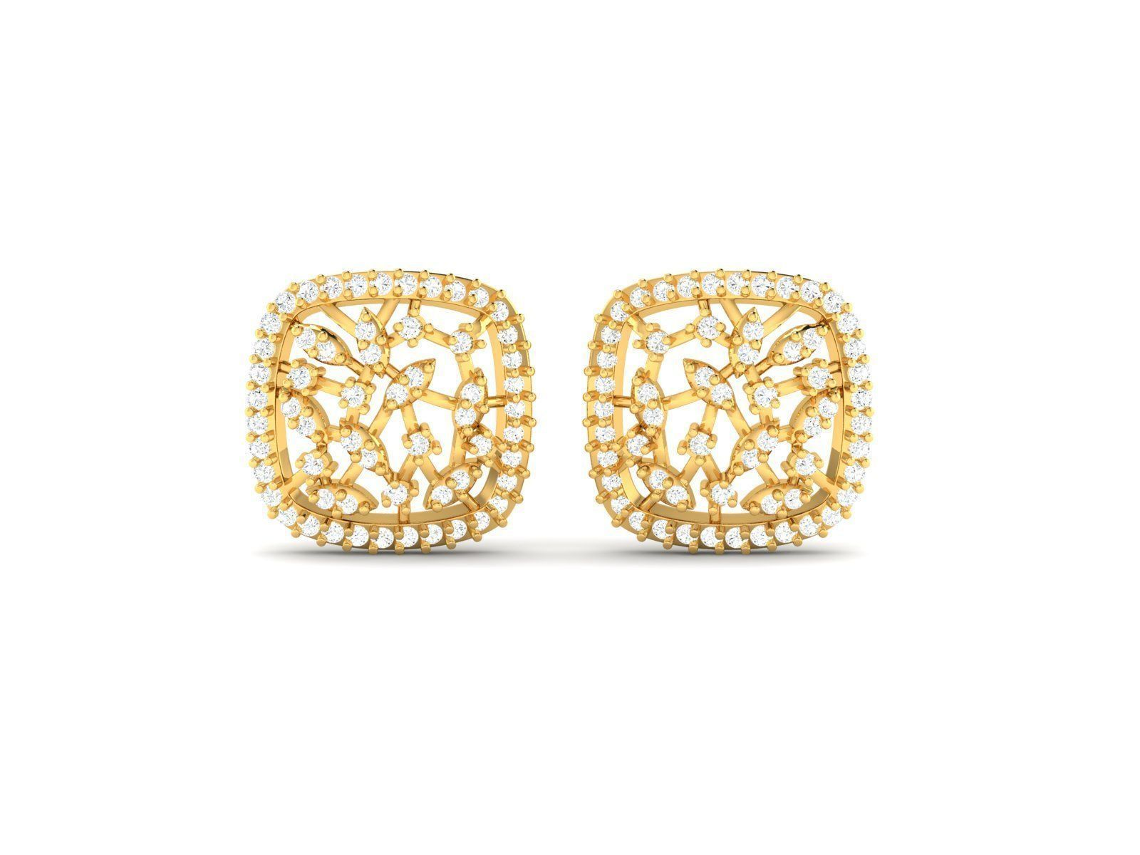 7c852446d Squircle Shaped Gold Stud Earrings With Diamonds 3D model 3D ...