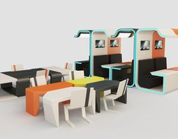 Modular Booth Cubicle with Desks and Chair 3D model
