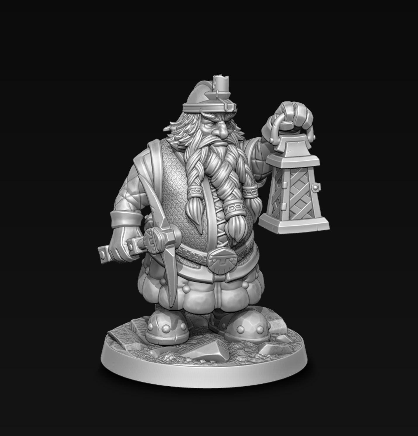 Dwarf miner with lantern
