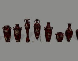 3D model game-ready vase set