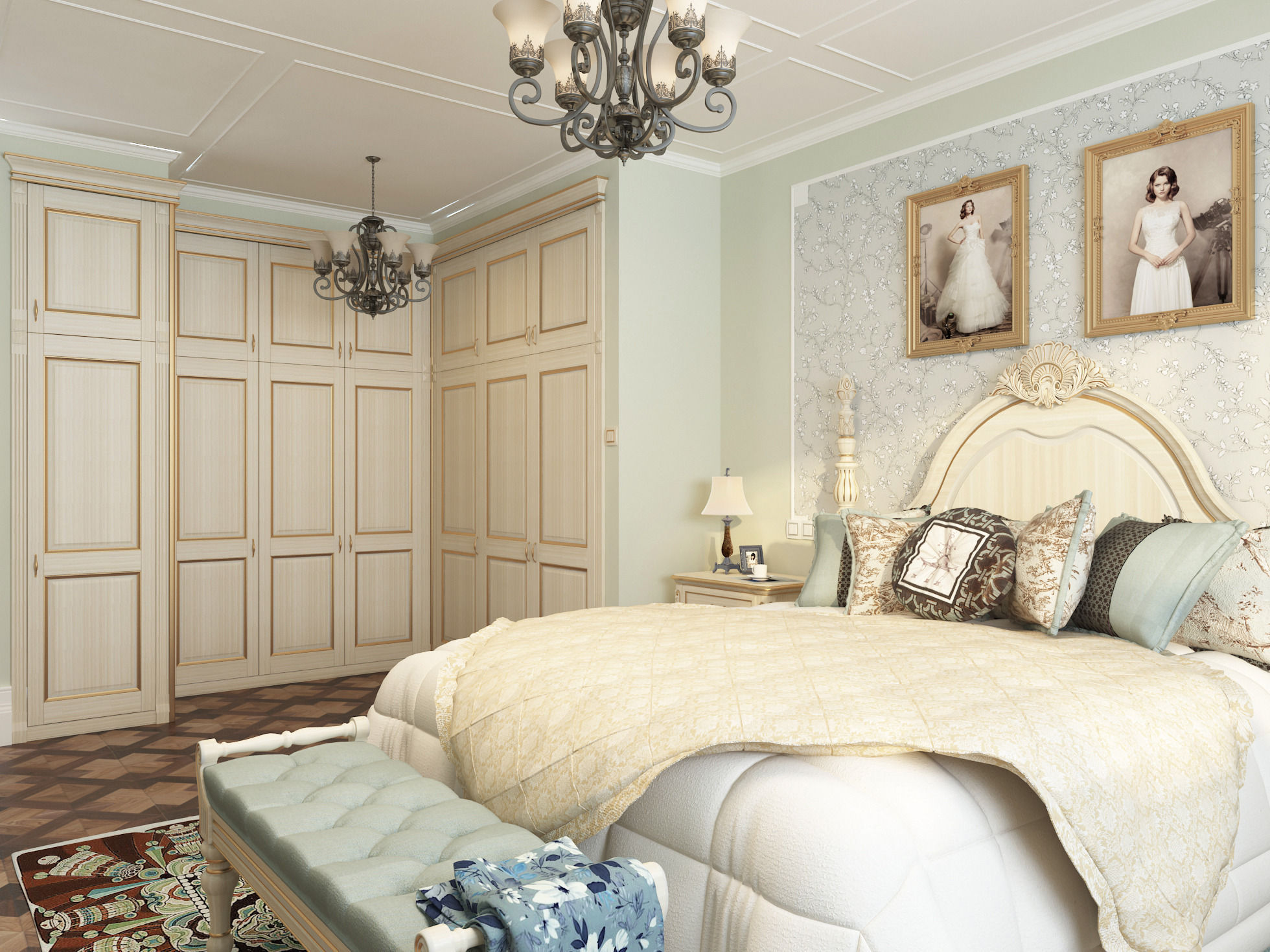 New classicism style with cloakroom large bedroom 3D Model ... on New Model Bedroom  id=66711