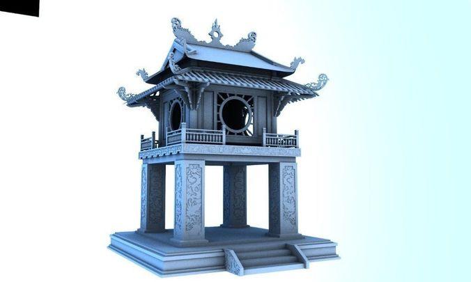 constellation of literature pavilion of vietnamese 3d model obj mtl ma mb 1