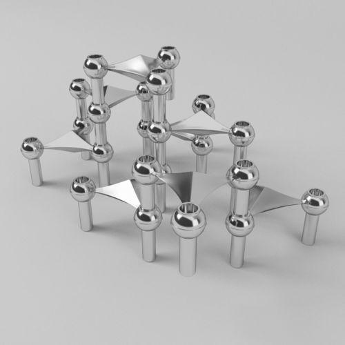 candle holder bmf quist nagel chrome 60s 3d model obj mtl 3ds fbx c4d dxf dae 1