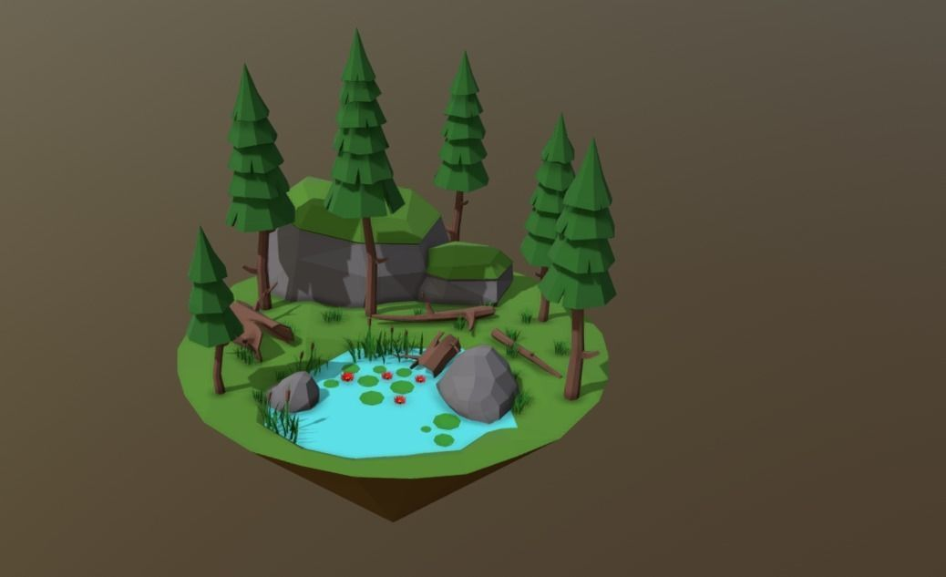 3D Lake Low Poly
