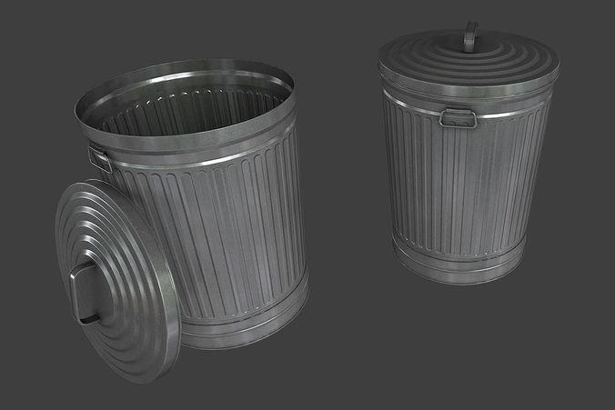Metal Trash Can Et Cgtrader