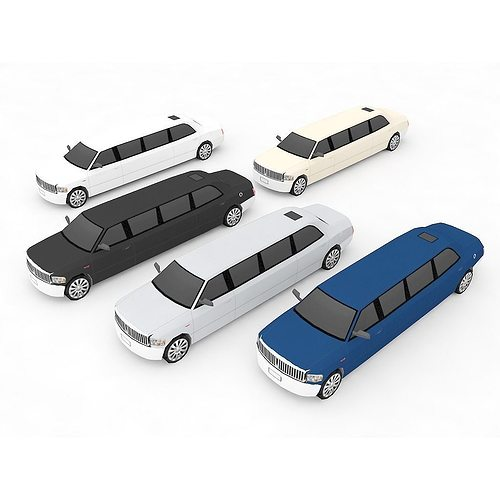 limousine 3d model low-poly max obj mtl fbx ma mb 1