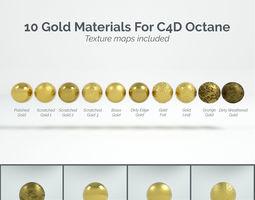 3D 10 Gold Materials For Cinema4D Octane Render