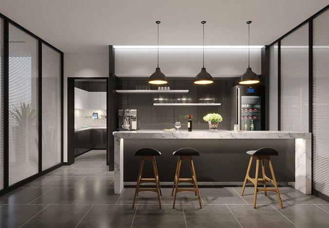 modern kitchen mini bar 3D | CGTrader