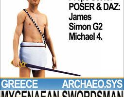 ancient greek mycenaean swordsman set poser daz 3d