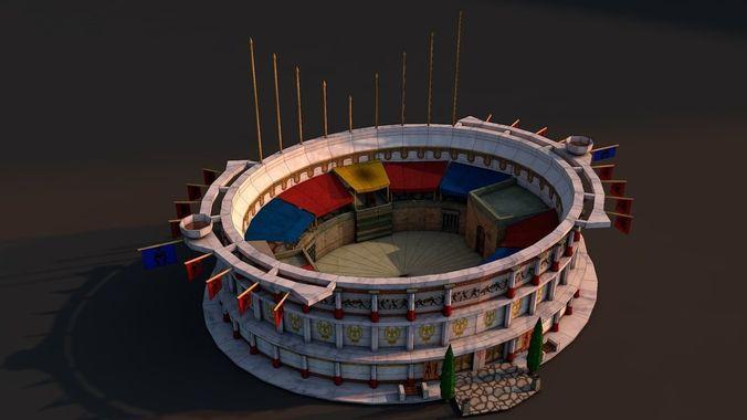 rome colosseum 3d model low-poly obj mtl 3ds fbx c4d stl 1