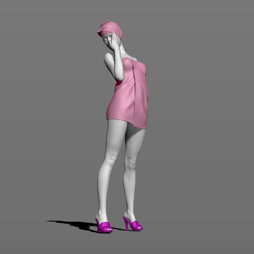 girl after shower 3d model obj mtl stl ztl 1