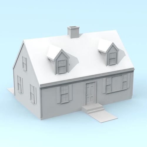 cape cod style house 3d model stl 1