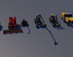 3D asset pack of 6 agriculture farm machine vehicles