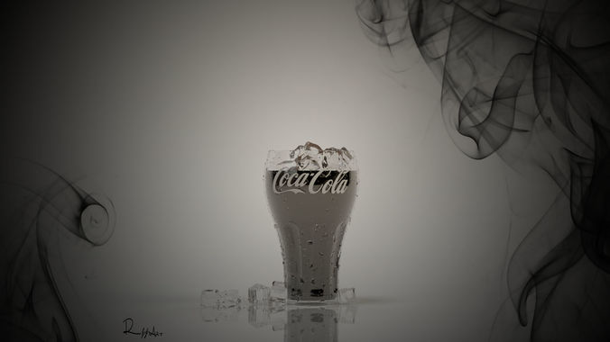 glass coca cola 3d model max 1