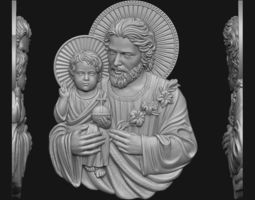Saint Joseph with baby Jesus 3D print model