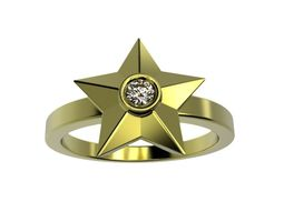 Gold diamond star ring 3d printable Stars jewellery stl 2