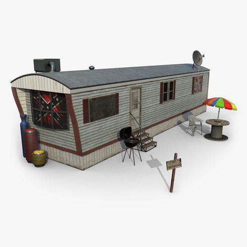 mobile home game ready 3d model low-poly max obj mtl fbx tga spp 1