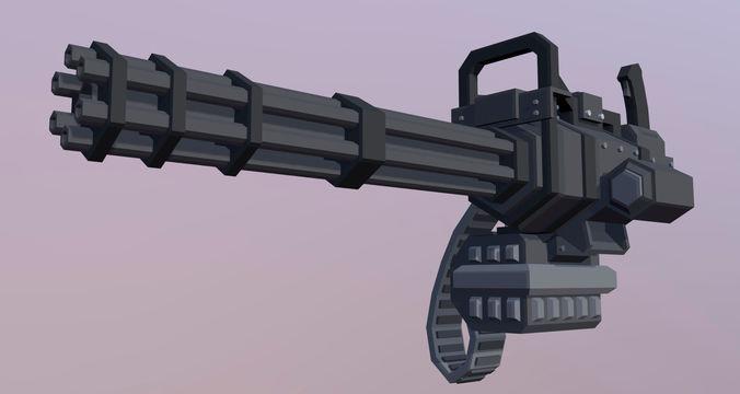 minigun 3d model low-poly max obj mtl 3ds fbx dxf dae 1