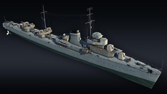 destroyer project 7 gremyashiy 3d model max obj mtl 3ds fbx 1