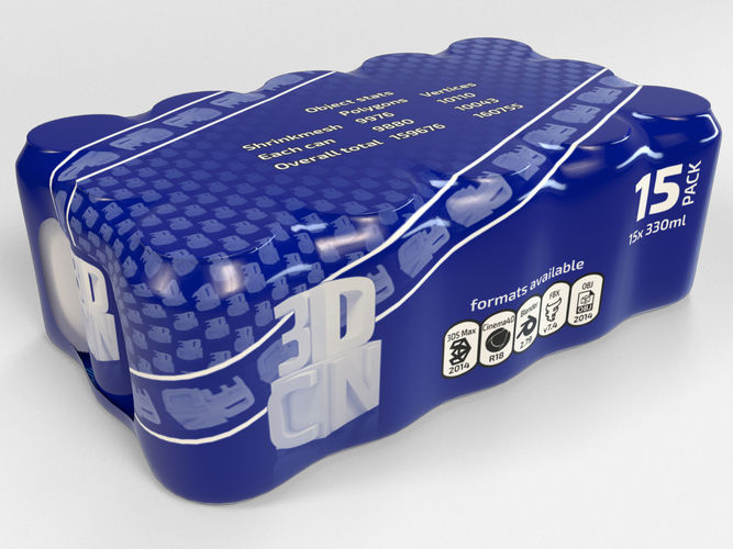 15 pack 330ml drink cans in plastic shrink wrap 3d model max obj mtl fbx c4d blend 1