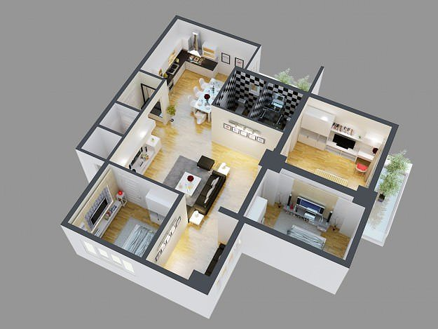 3d model detailed house cutaway view 4 cgtrader for House designs 3d model