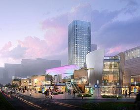 3D street Skyscraper Business Center