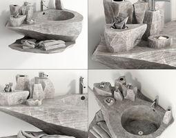 Washing stone bathroom 3D