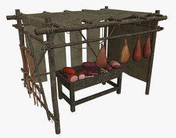 LowPoly Medieval Meat Stall 3D model