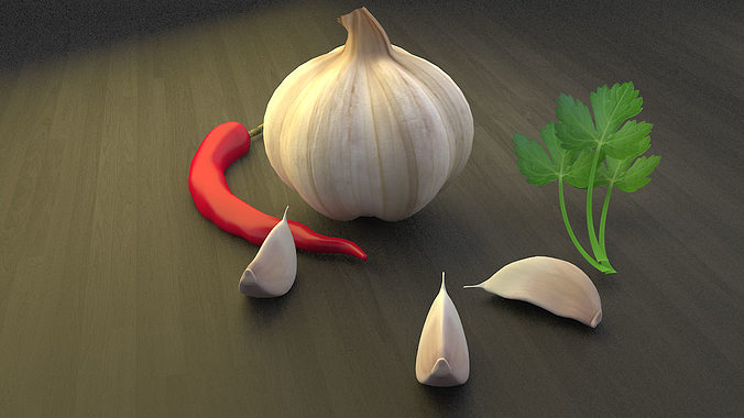 garlic chilli parsley 3d model 3ds 1