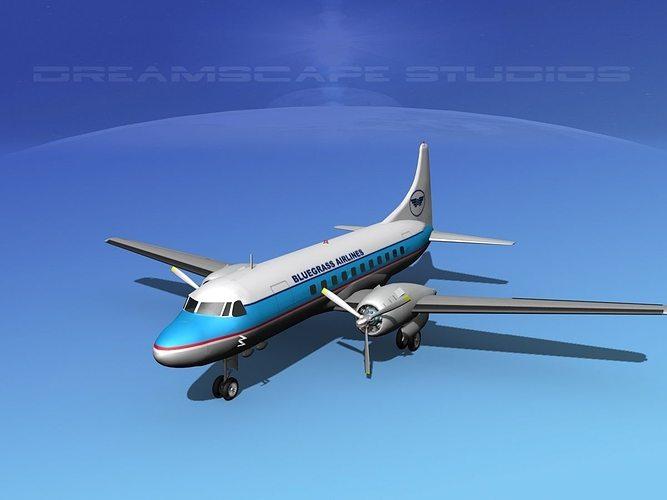 convair cv-340 bluegrass airlines 3d model max obj mtl 3ds lwo lw lws dxf stl 1